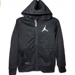 NIKE // boys black jumper zip up hoodie jordan
